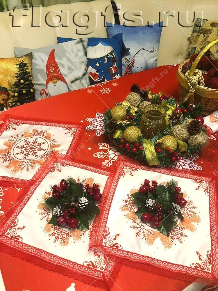Скатерти и салфетки с новогодней тематикой в подарок
